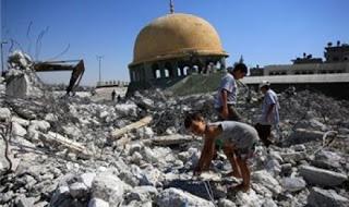 wisata hati reruntuhan-masjid-di-gaza-yang-hancur-akibat-agresi-israel